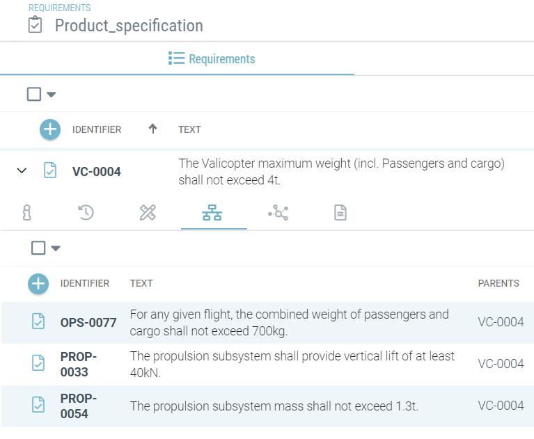 Introducing margins and limits during requirements breakdown in Valispace