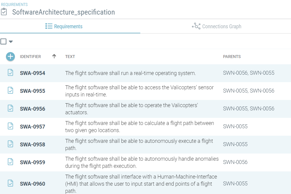 Software architecture specification list in Valispace