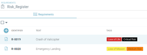 Risk register and impact analysis in Valispace