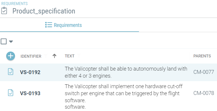 Product specification failure management in Valispace