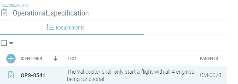 Operational specification requirements in Valispace